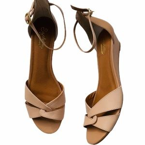SEYCHELLES nude ANKLE STRAP SHORT WEDGE SANDALS